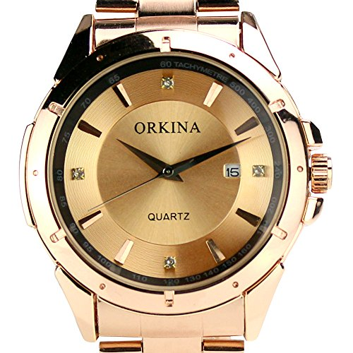 Orkina Bronze Color Date Of Month Stainless Steel Strap Mens Wrist Watch W001-S-Bz
