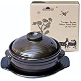 Crazy Korean Cooking Korean Stone Bowl (Dolsot), Sizzling Hot Pot for Bibimbap and Soup - Premium Ceramic (Large with Lid)