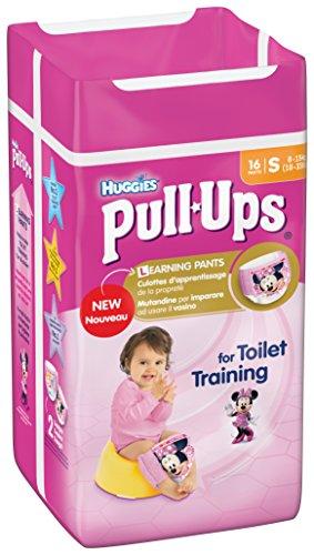 Huggies Pull Ups - Mutandine di apprendimento per bambina, Taglia 4 (8-15 kg), 3 confezioni da 16 pz.