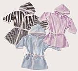 Baby Kinder Bademantel, 86 - 92, rose-weiss, herrlich weich und kuschlig
