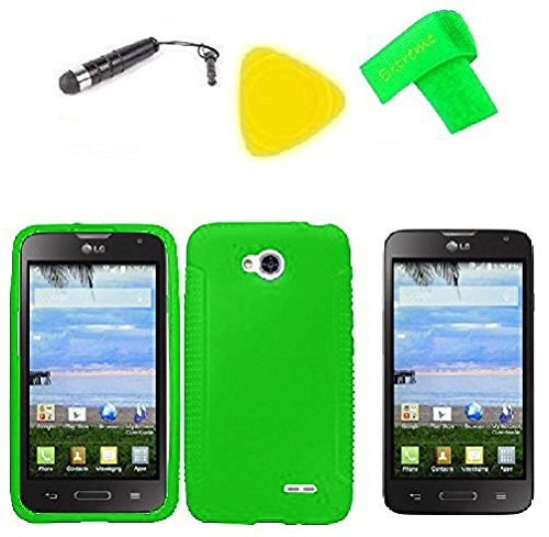 Phone Cover Case Cell Phone Accessory + Extreme Band + Stylus Pen + Lcd Screen Protector + Yellow Pry Tool For Straight Talk Lg Ultimate 2 L41C (Silicone Green)