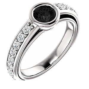 18K White Gold Round Cut Black Diamond Engagement Ring - 1.25 Ct.