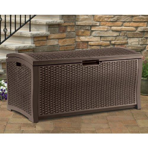 Suncast Resin Wicker 99 Gallon Deck Box Size - 50L x 25.5W x 25.5H in.