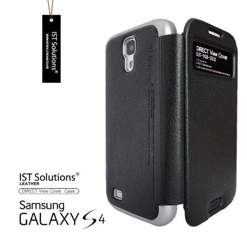 2点セット GALAXY S4 IST DIRECT S VIEW ダイアリー デザイン フリップ カバー ケース カード 収納機能 ( Suica Pasmo Edy) ワンセグ対応 ワンセグアンテナ対応 ( docomo Galaxy S4 SC-04E / Samsung Galaxy S IV 2013年モデル 対応) Standing View Cover for Galaxy S4 i9500 ビュー ケース NTT ドコモ ギャラクシー エスフォー ケース ドコモ カバー 衝撃保護 ジャケット Flip Cover Case + 液晶保護フィルム1枚 Stylish Black (黒 黒色 ブラック) 1306145