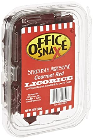 Office Snax OFX00044 Seriously Awesome Gourmet Licorice, 15-Ounce Tub, Red