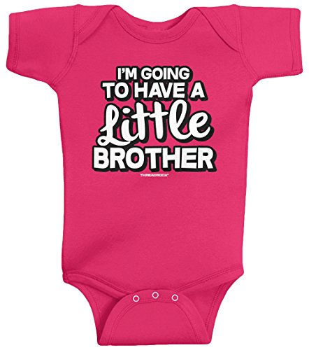 Threadrock Unisex Baby I'M Going To Have A Little Brother Bodysuit 24M Hot Pink
