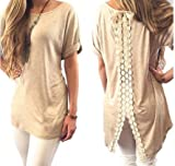 Halife Women's Short Sleeve Hi Low Tunic Tops Blouse Lace Back Split Cuffed Tee Shirt (XL, Khaki)