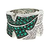 Leafy Wide Band/Cocktail Ring w/Emerald & White CZs Size 6 Picture