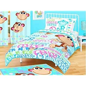 American Kids Collection Twin/Full Microfiber Reversible Comforter Love, Peace & Rock N Roll Monkey