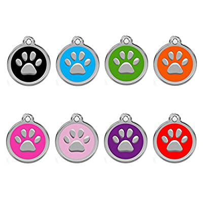CNATTAGS Personalized Engraved Designers Round Paw Pet ID Tag Dog Tag Cat Tag
