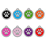 CNATTAGS Personalized Engraved Designers Round Paw Pet ID Tag Dog Tag Cat Tag (Pink)