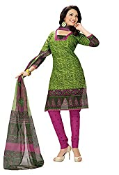 Rajnanidini women's Printed unstitched cotton salwar suit Dress material with duppta (multi colour_free size )