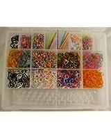 Hengsong-2200pcs Rubber Bands +12 Kit Loom Rubber Band+1 Loom Board+6 Crochet+2 Sacs S-Clips Kit élastiques Sans Latex Pour Bracelets en élastiques /DIY Rubber Bands