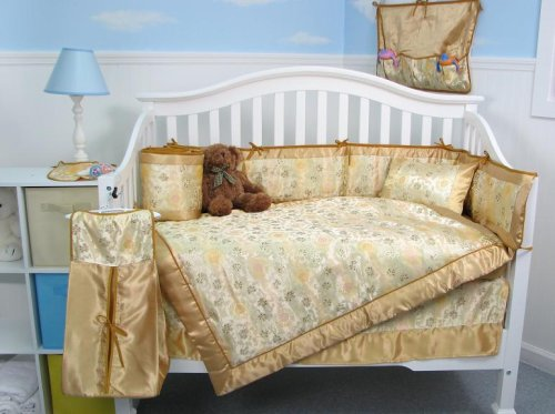 Golden Asian Silky Baby Crib Nursery Bedding Set 10pcs