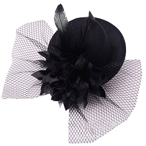 Coolr Women's Fascinator Flower Hair Clip Feather Burlesque Punk Mini Hat Black (Tiny Hat Hair Clip compare prices)