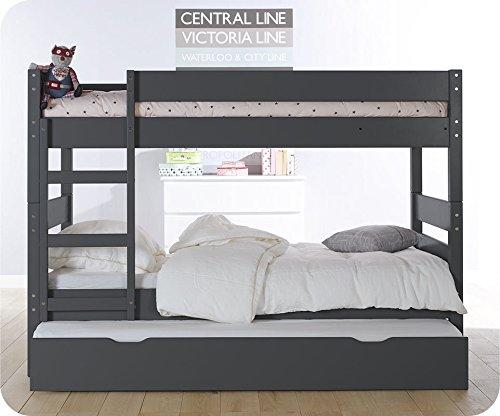 Mobikids litera 1 2 3 cama nido supletoria gris 90x190cm - Literas nido 3 camas ...