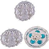 GS MUSEUM Silver Plated Rani Kumkum Plate 2 Sets And Silver Plated Devdas Diya Diamond Plate