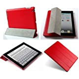 Invision ® iPad New 4 (mit Retina Display) iPad 3 & iPad 2 Case Tasche in Rot - Front & Back Protection Magnetic Smart Cover mit Wake & Auto-Sleep-Funktion - Full Grade Leder (PU) mit glattem Satin Inner Cloth