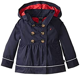 Nautica Baby Girls\' Classic Hooded Trench Coat, Navy, 18 Months