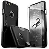 iPhone 6 Plus Case, Black With [Tempered Glass Screen = Best LCD Protector] [Patented Lens Hood = Better Pictures...