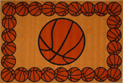 Roule Fun Time Collection Basketball Time 39X58 Inch Kids Area Rugs