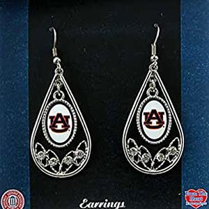 Auburn Tigers Polished Silver Tone Tear Drop Hoop Earrings with Czs by Judson