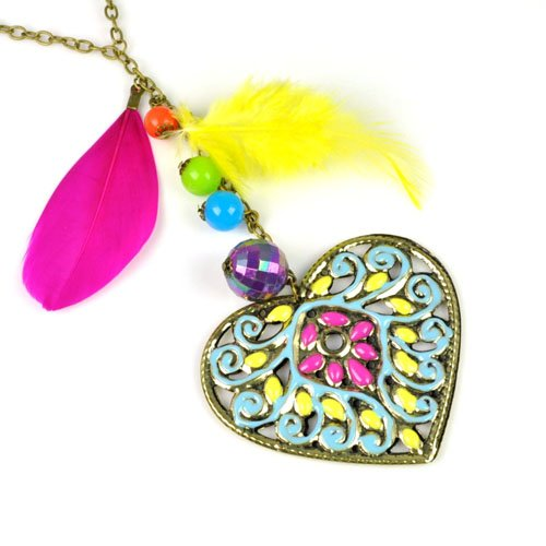 Colorful Phoenix Design Heart Pendant Necklace,nl-1915