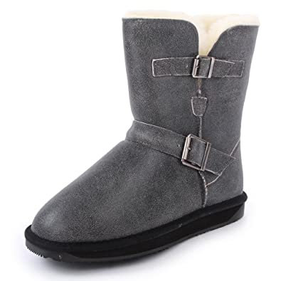 Amazon.com: Boo Roo Gabby Womens Slip On Suede Boots Black Grey - 8