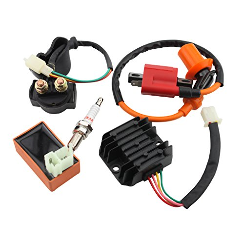GOOFIT AC Racing Ignition Coil 6pin Connector CDI Spark Plug Voltage Regulator Rectifier Relay 50cc 60cc 80cc 125cc 150cc ATV Quad Go Kart Moped and Scooter (Go Kart Racing Parts compare prices)