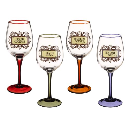Grasslands Road In Vino Veritas Wine Glass Assortment, 10-Inch, Set Of 4