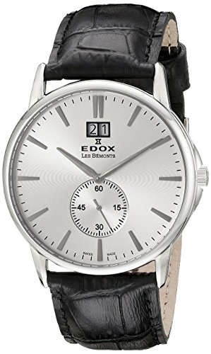 EDOX EDOX LES BÈMONTS Unisex Watch BIG DATE Dial Analogue Display and Gold Leather 64012 3 Leads