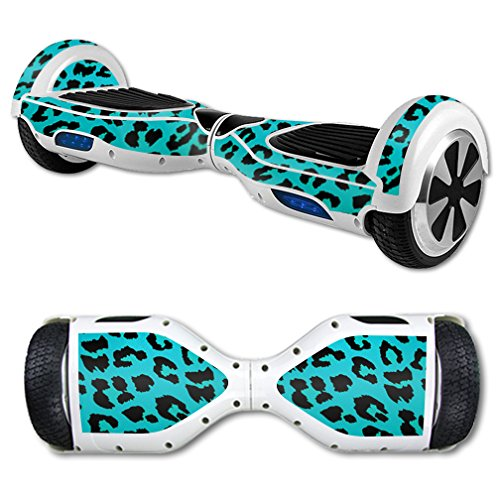 MightySkins Protective Vinyl Skin Decal for Hoverboard Self Balancing Scooter mini hover 2 wheel unicycle wrap cover sticker Teal Leopard