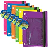 BAZIC Bright Color 3-Ring Pencil Pouch with Mesh Window, Color may vary, 1 item