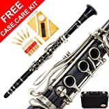150-DB - DARK BLUE/SILVER Keys Bb B flat Clarinet Lazarro+11 Reeds,Case,Care Kit~24 COLORS Available,CLICK on LISTING to SEE All Colors