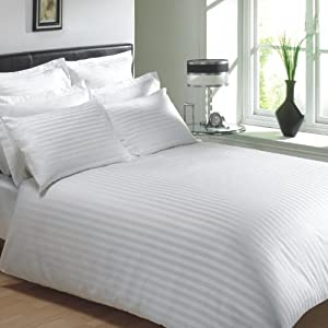 VICEROY BEDDING 100% Egyptian Cotton, CLASSIC STRIPE Duvet Cover, White, King Bed Size, 400 Thread Count