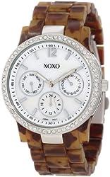 XOXO Women's XO5526 Tortoise Bracelet with Rhinestones on Silver Case Watch