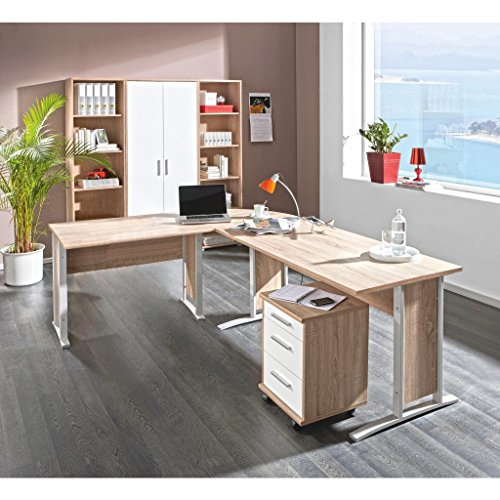 komplettes arbeitszimmer mit winkelschreibtisch. Black Bedroom Furniture Sets. Home Design Ideas