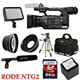 Panasonic AG-AC130 Camcorder + Rode NTG2 Mic + XLR Cable + Panasonic Battery Pack + 64GB + 0.45X Wide Angle Lens + 2x Telephoto Lens + Case + Tripod + Led Light