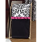 Baby And Kids Clothes Hot Pink, Black And White Isabella Laundry Hamper By Sweet Jojo Designs