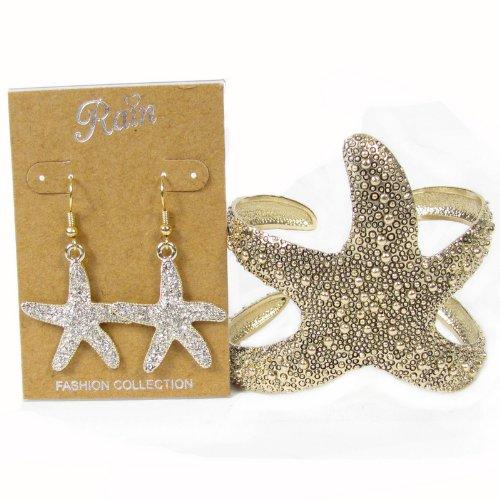 Goldtone Sea Lovers Starfish Cuff Bracelet & Dangle Crystal Earrings Set