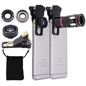 Universal 4 in 1 Lens Camera Phone Lens Kit 10X Optical Zoom Telescope Lens + Clip on Fish Eye Lens + 2 in 1 Macro Lens + Wide Angle Lens for Smart Phones (Black)
