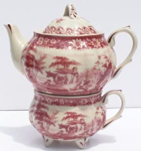 Red French Toile Round Belly Tea for One