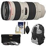 Canon EF 70-200mm f 2.8L USM Zoom Lens with 3 UV FLD CPL Filters + Backpack + Cleaning Kit for Digital SLR Cameras