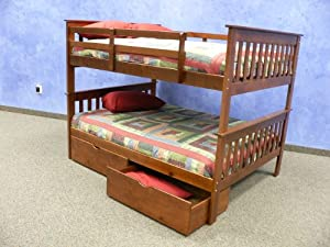 Full over Full Mission Bunk Bed with Drawers in Espresso from DONCO