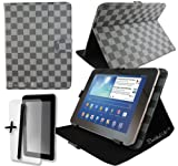 Black Luxury Checkerboard Case Cover Stand for CnM 8DC-16 8 Inch 8'' 8 inch ANDROID TABLET PC + Screen Protector