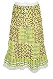 Indiatrendzs Fashion Skirts Women Printed Cotton Green Summer Long Skirt