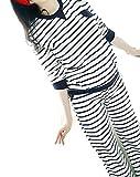 お洒落 授乳口付 ルームウェア パジャマ 授乳服 長袖 ボーダー シンプル レディース (L, ホワイト)