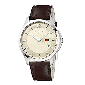 Gucci G-Timeless Collection Men's Quartz Watch with Beige Dial Analogue Display and Brown Leather Strap YA126303