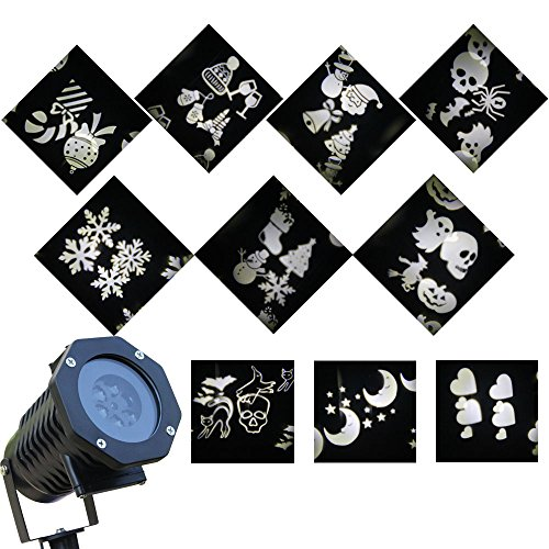 [Polan™Christmas Waterproof Decorative Projector Led Lights with Replaceable 10 PCS Slides,Christmas Projector Lamp with Auto-moving Plug-in Warm Withe] (House With Dancing Halloween Lights)