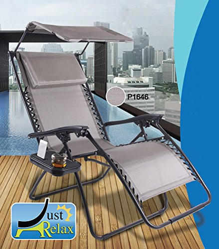 Just Relax Zero Gravity Chair with Pillow, Canopy, and Clip-On Table (Taupe Grey)